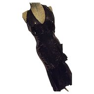 SEXY Vintage 80s Nadine Womens Black Halter Maxi Dress Sequins MERMAID Style 7/8 Evening