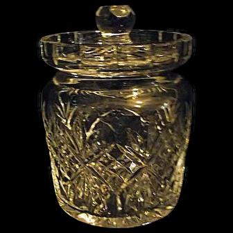 EXCELLENT Waterford Giftware Cut Crystal Biscuit Barrel Jar Fan & Criss Cross