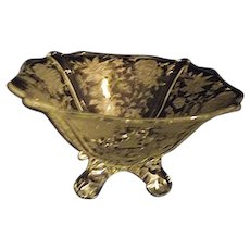 CAMBRIDGE Vintage Etched Wildflower 4 Toed Comport Bowl