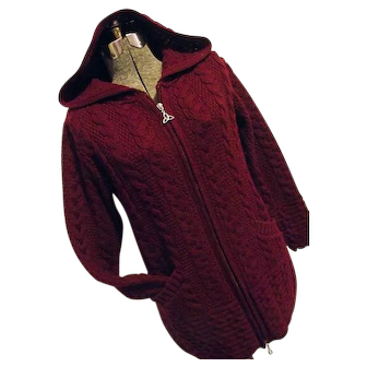 Inis Crafts Womens Burgundy Hooded Sweater 100% Merino Wool Zipper Ireland Medium