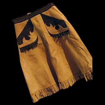 ROCKABILLY Womens Vintage Western Buckskin Leather Skirt Fringe Sm-Med Lace Up