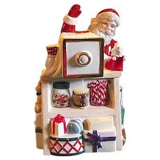 CUTE Lenox Holiday Village Coll Santa Camera Photograph Cookie Jar With Music Box