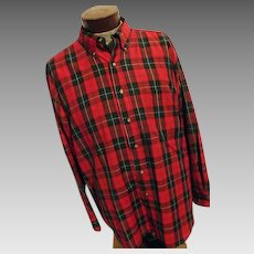 CHRISTMAS Sir Pendleton Mens Worsted Wool Shirt Red Green Big Plaid XL