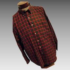 CHRISTMAS Sir Pendleton Mens Worsted Wool Shirt Red Green Block Plaid XL