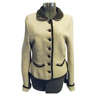 ADORABLE Geiger Tyrol Womens Beige 100% Boiled Wool Sweater Austria 38 S-M