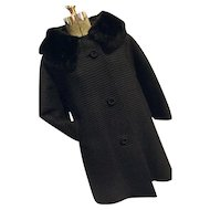 Vintage 1950s 1960s Womens Black Coarse Ribbed Gabardine Dress Coat Mink Collar Large