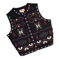 LOVELY Cambridge Dry Goods Womens Felted Wool Bld Vest Nordic Black Med
