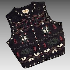 LOVELY Cambridge Dry Goods Womens Felted Wool Bld Christmas Vest Nordic Black Med