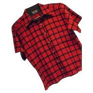 ATOMIC Vintage 1960s Pendleton Mens Red Check 100% Wool Shirt Lg SS