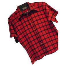 ATOMIC Vintage 1960s Pendleton Mens Red Check 100% Wool Shirt Lg SS Christmas