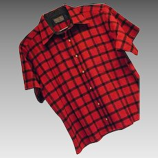 ATOMIC Vintage 1960s Pendleton Mens Red Check 100% Wool Shirt Lg SS