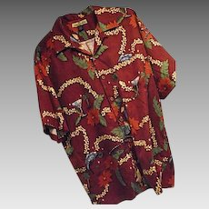 Tommy Bahama 2002 CHRISTMAS Santa Hawaiian Shirt Every Day is a Holiday Med