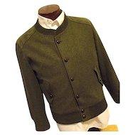 Vintage Trachten Julius Lang Mens Olive Green Military Style Harrington Coat