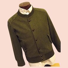 Vintage Trachten Julius Lang Mens Olive Green Military Style Harrington Coat