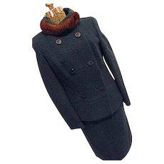 BEAUTIFUL Vintage 1960s Dellbury England Womens Boucle Wool 2PC Skirt Suit Mink Trim