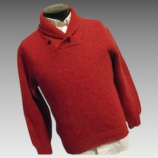 Vintage LL Bean Mens Red Wool Blend Fishermans Sweater Med Shawl Collar