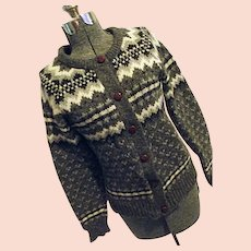 THICK & WARM Eskimo Knitwear England Womens 100% Wool Gray Cardigan Sweater M-L