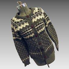 THICK & WARM Eskimo Knitwear England Womens 100% Wool Gray Cardigan Sweater M-L