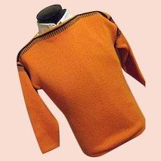 ATOMIC Vintage 1950s Meister Mens 100% Wool Boatneck Ski Sweater Orange Black Small