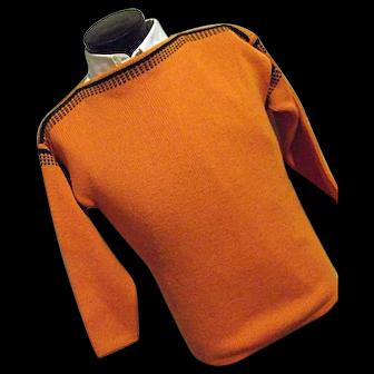 ATOMIC Vintage 1950s Meister Mens 100% Wool Boatneck Ski Sweater Orange Black Small