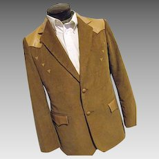 ROCKABILLY Mens Vintage Pioneer Wear Western Blazer 42R Camel Corduroy and Leather