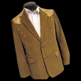 ROCKABILLY Mens Vintage Pioneer Wear Western Blazer 42R Camel Corduroy and Leather