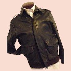 SPORTY'S PILOT SHOP Mens Vintage Goatskin Leather Bomber Flight Jacket 44 A-2 US Gov