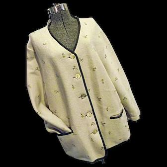 Geiger Tyrol Womens Beige 100% Boiled Wool Sweater Austria 44 XL Embroidery