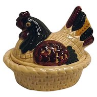 Vintage Metlox Poppytrail California Provincial Hen On Nest Rooster Covered Dish