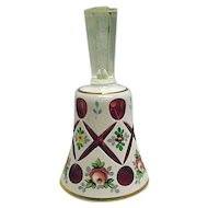 BEAUTIFUL Vintage Bohemian Glass Bell White Cut to Ruby Red Hand Painted Flowers