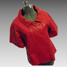 John F Firenze High Fashion Womens Red Leather Jacket Italy 40 Medium Couture