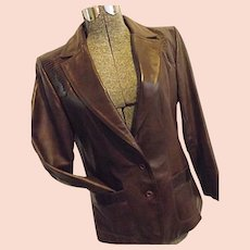 ROCKABILLY Vintage Lady Scully Womens Western Leather Jacket Blazer Lizard Skin 14 Medium