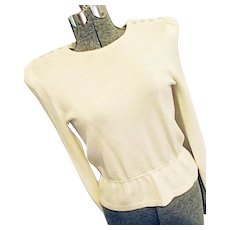 PEEK-A-BOO Sheer Back Vintage St John Marie Gray Santana Knit Ivory Top Rhinestone 8