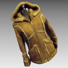 Vintage Wilsons Leather Womens Genuine Sheepskin Shearling Coat Hood 10 Small