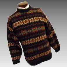 THICK Vintage Heather & Tweed Made England Mens 100% Wool Sweater Med Navy Blue