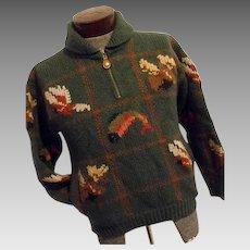 FANTASTIC Vintage 1970s LL Bean Mens 100% Wool Hunting Sweater Green Med 1/4 Zip Shawl