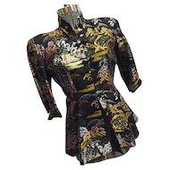 AMAZING Fujibayashi Japan Vintage 1950s Womens Silk Jacket Sm Peplum Skirt Frog Closures