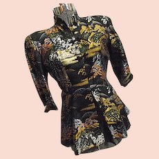 AMAZING Fujibayashi Japan Vintage 1950s Womens Silk Jacket Sm Peplum Skirt Frog Closures