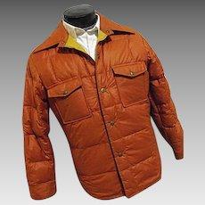 ATOMIC Vintage 1970s Eddie Bauer Mens Premium Goose Down Shirt Jacket Med Puffer