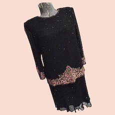 ELEGANT Laurence Kazar Black Silk Fully Beaded & Embroidered Skirt Top Set L XL