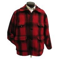 Vintage Johnson Woolen Mills Mens Red Buffalo Plaid Hunting Field Coat 46 USA