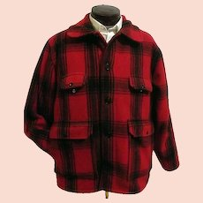 Vintage Johnson Woolen Mills Mens Red Buffalo Plaid Hunting Field Coat 46 USA