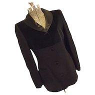 ELEGANT State of Claude Montana Womens Black Tuxedo Blazer Jacket 42/8 Italy