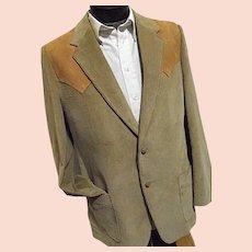 ROCKABILLY Mens Vintage Brad Whitney Corduroy Western Blazer Leather Trim Camel 42