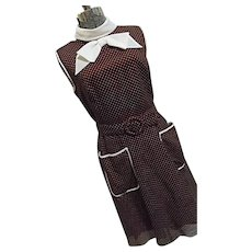 ROCKABILLY Adorable Vintage Miss Elliette Brown Polka Dot Dress Belt Bow Tie Flare S