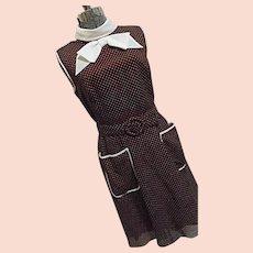 ROCKABILLY Adorable Vintage Miss Elliette Brown Polka Dot Dress Belt Bow Tie Flare S