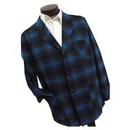 ROCKABILLY  1950s Pendleton Mens Blue Shadow Plaid 100% Wool 49er Jacket Lg