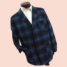 ROCKABILLY  1950s Pendleton Mens Blue Shadow Plaid 100% Wool 49er Jacket Lg