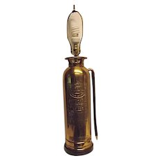 GENERAL QUICK AID Brass Fire Extinguisher Table Lamp Polished Soda Acid