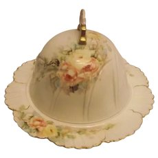 Beautiful Antique 1897 Hand Painted China Domed Butter Cheese Dish Yellow & Pink Roses